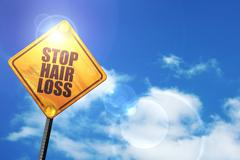 Yellow road sign with a blue sky and white clouds: stop hair los - stock illustration