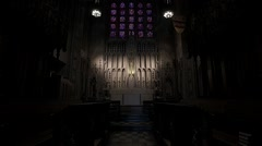 Chapel Interior ceiling to altar. Stock Footage