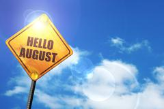 Stock Illustration of Yellow road sign with a blue sky and white clouds: hello august