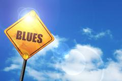 Yellow road sign with a blue sky and white clouds: blues music Stock Illustration