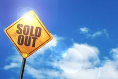 Yellow road sign with a blue sky and white clouds: sold out - stock illustration