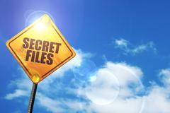 Yellow road sign with a blue sky and white clouds: secret files - stock illustration