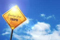 Yellow road sign with a blue sky and white clouds: Greetings fro Stock Illustration