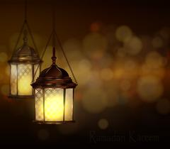 Intricate Arabic lamps with lights Stock Illustration