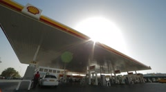 Working Shell Fuel And Gas Station Stock Footage