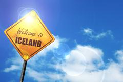 Yellow road sign with a blue sky and white clouds: Welcome to ic Stock Illustration