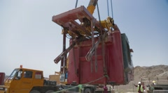 Mobile Crane Operating By Lifting Stock Footage