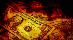 Pile Of Dollars In Flames - stock footage
