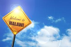 Yellow road sign with a blue sky and white clouds: Welcome to ma - stock illustration