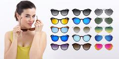 fun woman with sunglasses, sale concept - stock photo