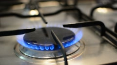 Flames on gas stove burner - stock footage