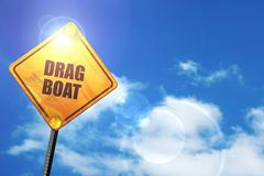Yellow road sign with a blue sky and white clouds: drag boat sig - stock illustration