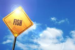 Yellow road sign with a blue sky and white clouds: Delicious fis - stock illustration