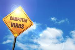 Stock Illustration of Yellow road sign with a blue sky and white clouds: Virus removal
