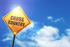 Yellow road sign with a blue sky and white clouds: cross country - stock illustration
