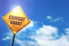 Yellow road sign with a blue sky and white clouds: combat robot - stock illustration