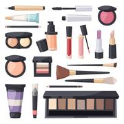 Vector set make up brushes and beauty fashion cosmetic icon - stock illustration