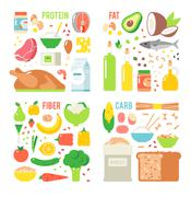 Healthy nutrition, proteins fats carbohydrates balanced diet, cooking, culinary - stock illustration