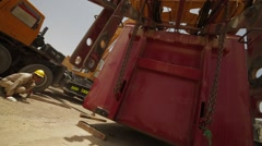 Heavy Load Is Lowered To The Ground Stock Footage