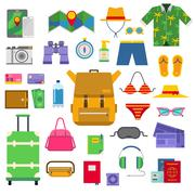 Summer vacation symbols beach travel holiday tourism set flat vector - stock illustration