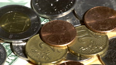 Different world coins Stock Footage