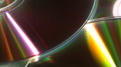 Moving reflections on CDs Stock Footage