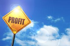 Yellow road sign with a blue sky and white clouds: profit Stock Illustration