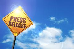 Yellow road sign with a blue sky and white clouds: press release - stock illustration