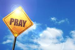Yellow road sign with a blue sky and white clouds: pray - stock illustration
