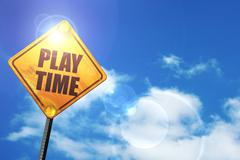 Yellow road sign with a blue sky and white clouds: play time - stock illustration