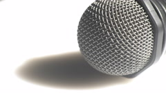 Detailed view of a handheld microphone Stock Footage