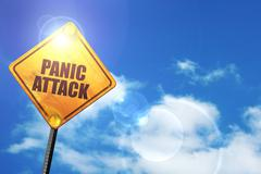 Yellow road sign with a blue sky and white clouds: panic attack - stock illustration