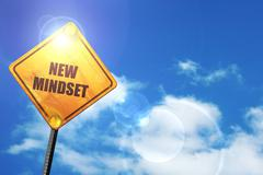Yellow road sign with a blue sky and white clouds: new mindset - stock illustration