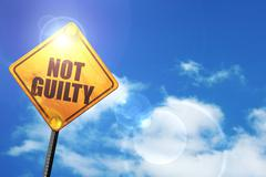 Yellow road sign with a blue sky and white clouds: not guilty - stock illustration