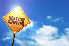 Yellow road sign with a blue sky and white clouds: next day ship - stock illustration