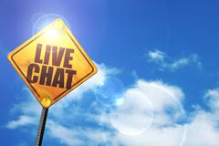 Yellow road sign with a blue sky and white clouds: live chat - stock illustration