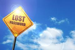 Yellow road sign with a blue sky and white clouds: lost password - stock illustration