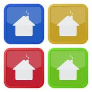 Set of four square icons - house with chimney Stock Illustration