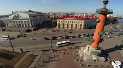 Stock Video Footage of Aerial view. Stock exchange building in St. Petersburg. Rostral columns. 4K.