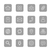 Stock Illustration of line web icon set on gray rounded rectangle