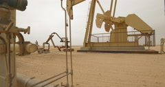 Pump Jack Pumping Crude Oil Up (4K) Stock Footage