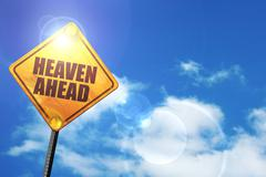 Yellow road sign with a blue sky and white clouds: heaven ahead - stock illustration