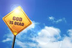 Yellow road sign with a blue sky and white clouds: god is dead - stock illustration
