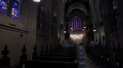 Chapel Interior Pan from door to altar. Stock Footage