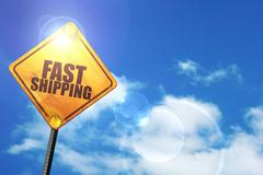 Yellow road sign with a blue sky and white clouds: fast shipping Stock Illustration