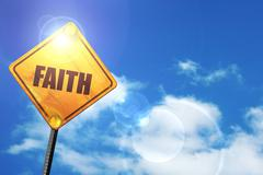 Yellow road sign with a blue sky and white clouds: faith - stock illustration