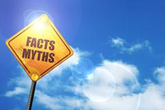 Yellow road sign with a blue sky and white clouds: facts myths - stock illustration