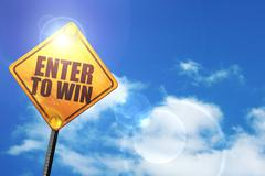Yellow road sign with a blue sky and white clouds: enter to win - stock illustration