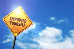 Yellow road sign with a blue sky and white clouds: empower yours - stock illustration