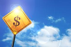 Yellow road sign with a blue sky and white clouds: dollar sign - stock illustration